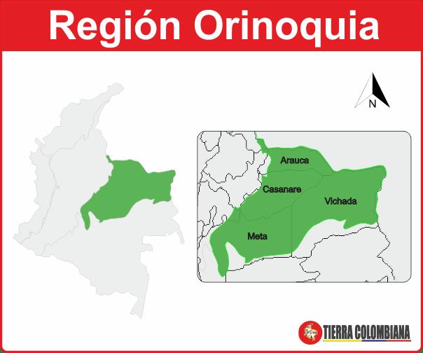 Mapa de la región orinoquia