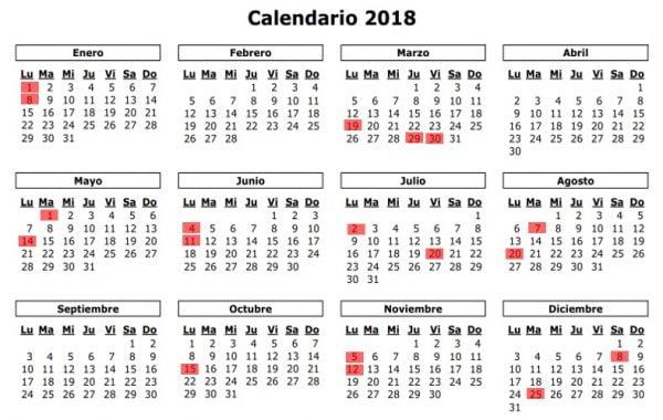 43bcc613077 Para este nuevo año 2018 los colombianos tendrán 18 días festivos durante  todo el año