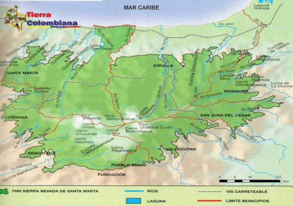 mapa de la sierra nevada de santa mara
