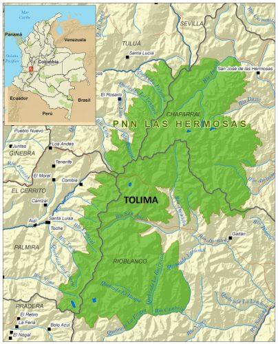 Mapa del parque Nacional Natural las hermosas, Colombia; imagen tomada de internet.