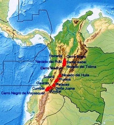 Mapa de Colombia con sus volcanes; Imagen tomada de internet.