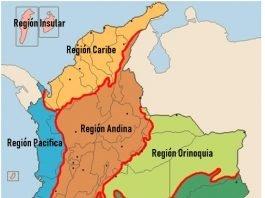 regiones de colombia y sus departamentos