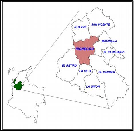 Mapa de Rionegro Antioquia, imagen tomada de internet.