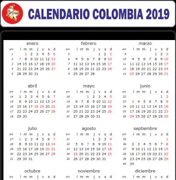 calendario colombia 2019