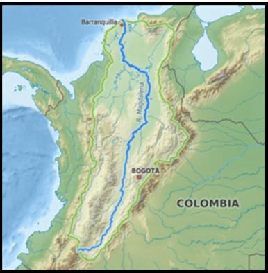 Mapa, recorrido Rio Magdalena , Colombia; imagen tomada de internet.