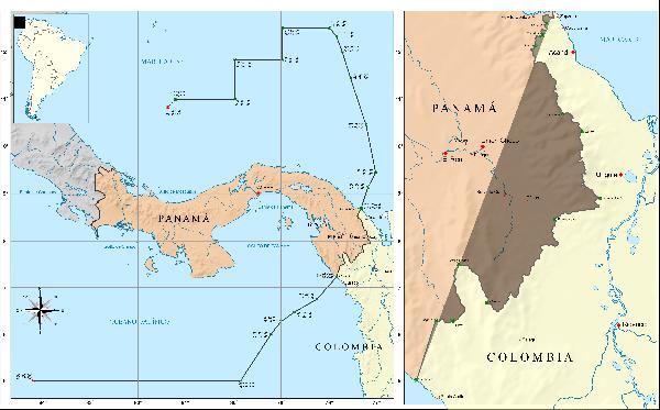 Mapa frontera colombia panama