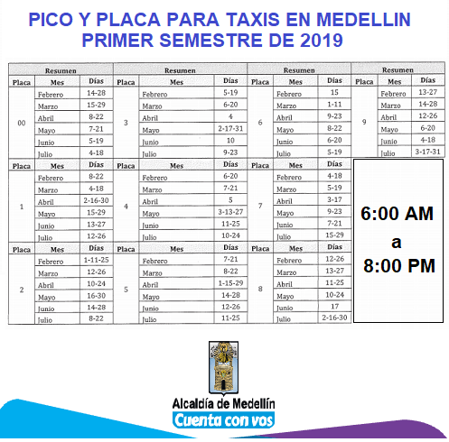 PICO Y PLACA TAXIS 2019