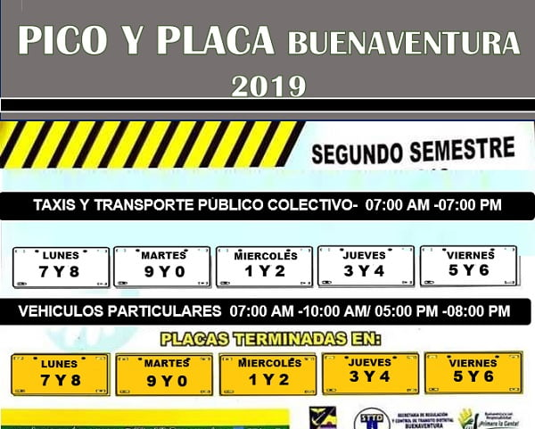 Pico y placa segundo semestre 2019